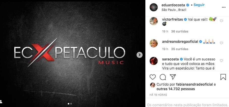 Andréa de Nóbrega comentou a publicação de Eduardo Costa (Foto: reprodução/Instagram)