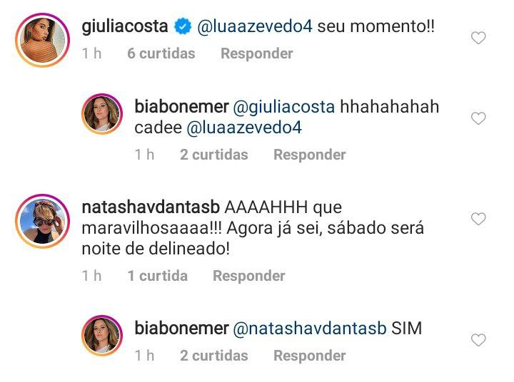 Bia Bonemer interagiu com a madrasta, Natasha Dantase e Giulia Costa (Foto: Reprodução/ Instagram)