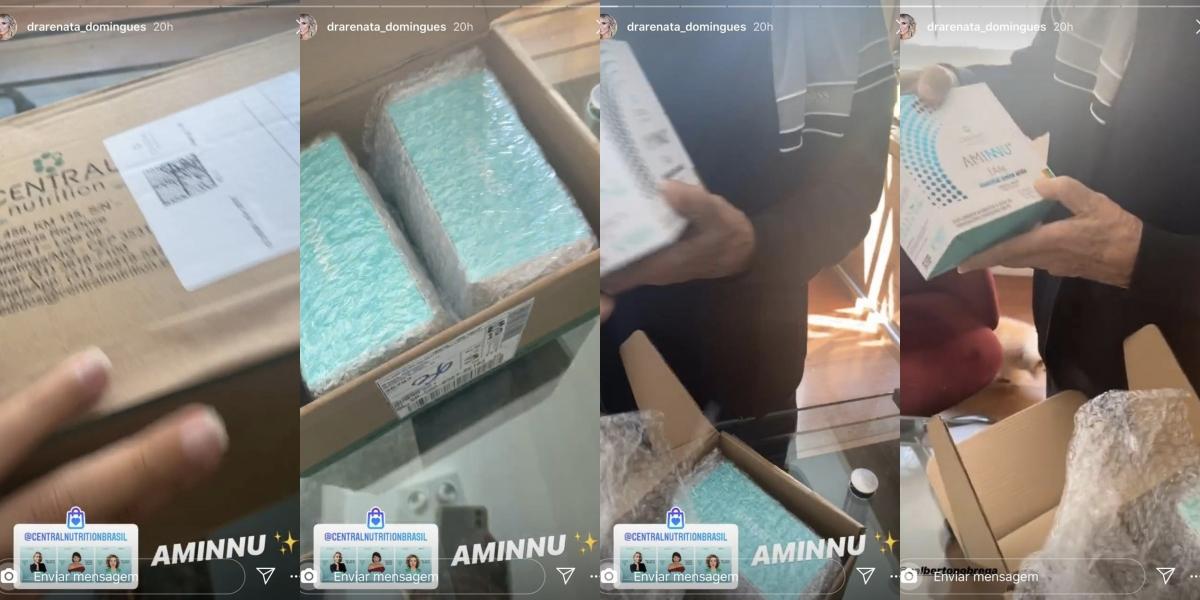 Carlos Alberto recebeu um suplemento com a caixa azul da esposa (Foto: reprodução/Instagram)