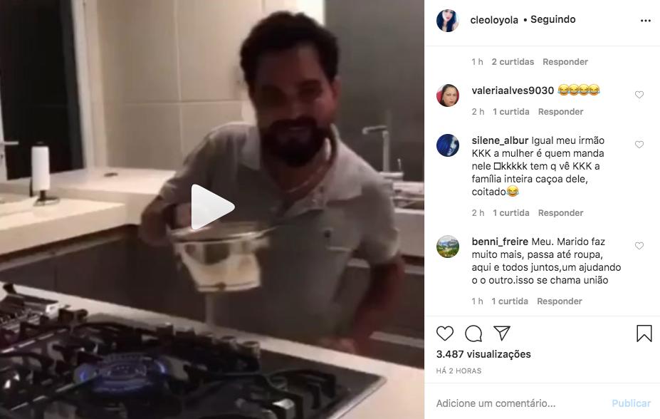 Cleo Loyola compartilhou um vídeo íntimo de Luciano Camargo (Foto: reprodução/Instagram)
