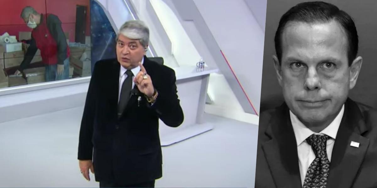 Datena criticou Dória ao vivo (Foto montagem: TV Foco)
