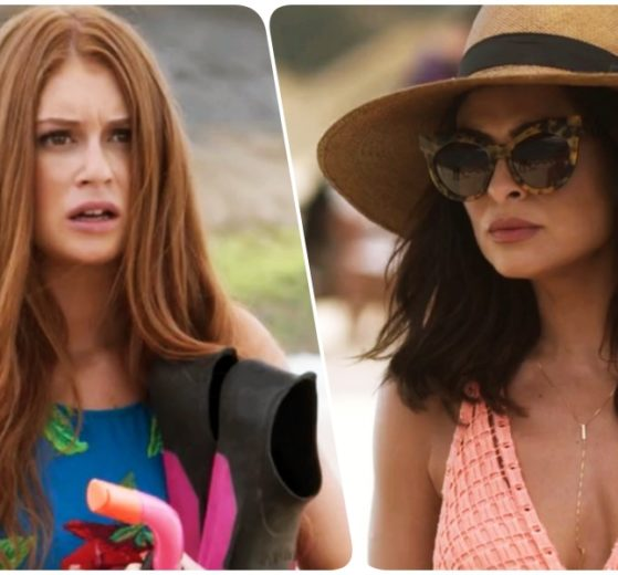 Fotomontagem de Eliza e Carolina de totalmente demais com roupas de praia ao ar livre