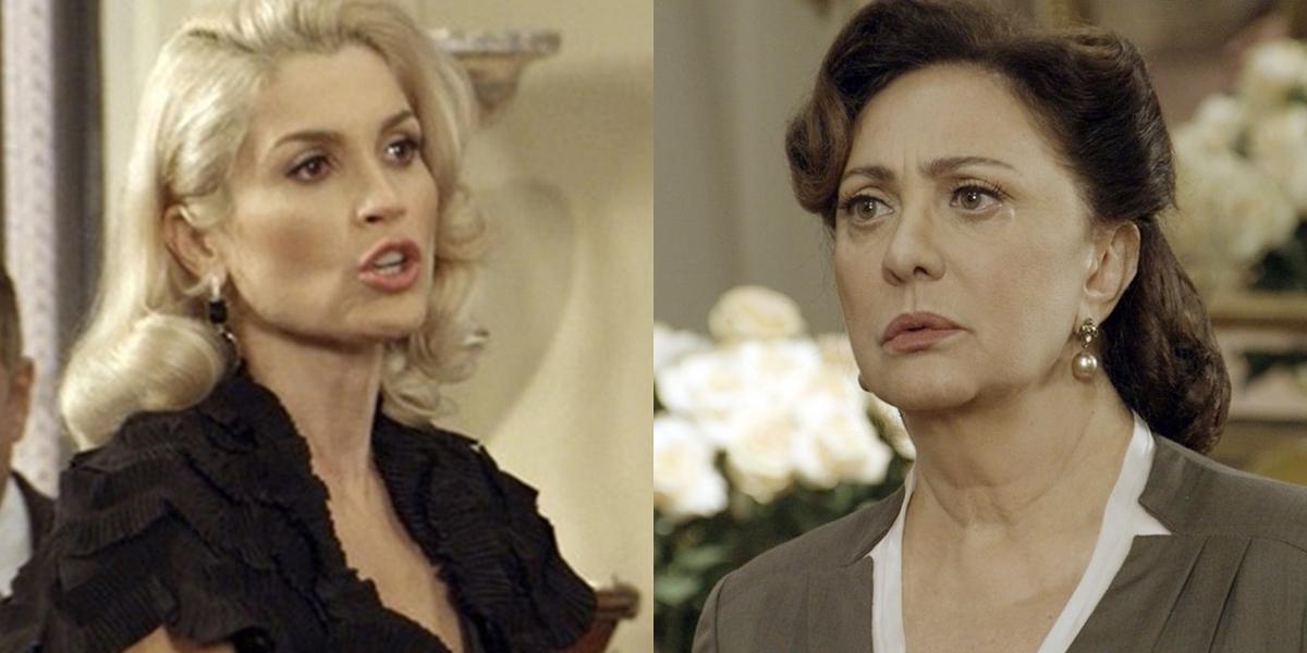 Sandra (Flávia Alessandra) deixa Anastácia (Eliane Giardini) na miséria e expulsa a tia de casa em Eta Mundo Bom (Foto: Reprodução/Globo)