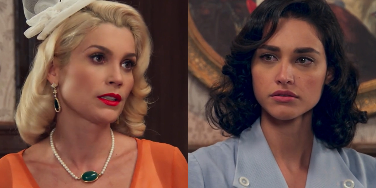 Flávia Alessandra (Sandra) e Débora Nascimento (Filomena) em cena de Eta Mundo Bom, que teve audiência recorde (Foto: Reprodução/Globo)