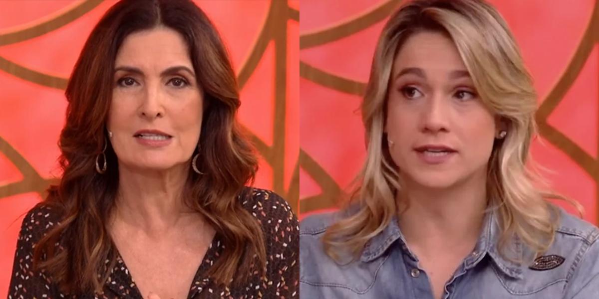 Fátima Bernardes e Fernanda Gentil no comando do Encontro; programa teve queda de audiência com apresentadora titular (Foto: Reprodução/Globo)
