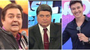 globo Os famosos apresentadores Faustão, Datena e Rodrigo Faro (Reprodução)