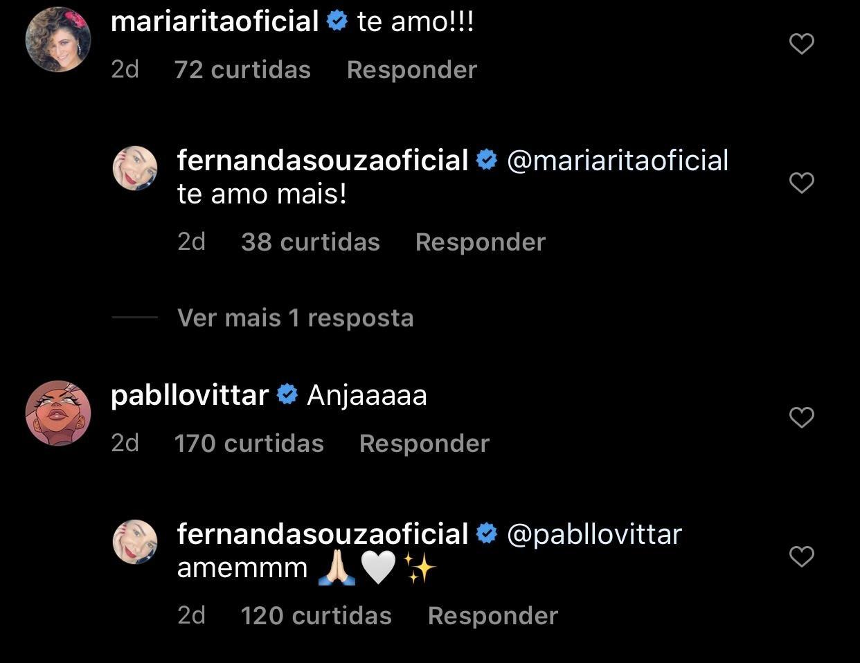 Fernanda Souza respondeu celebridades (Foto: reprodução/Instagram)