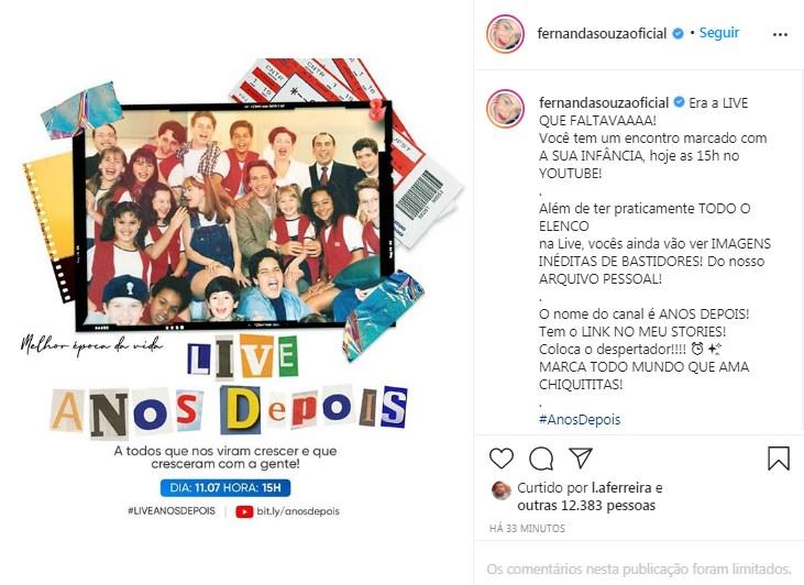 Fernanda Souza fará uma grande transmissão ao vivo (Foto: reprodução/Instagram)