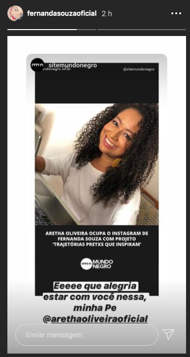Fernanda Souza em seu stories (Foto: reprodução/Instagram)