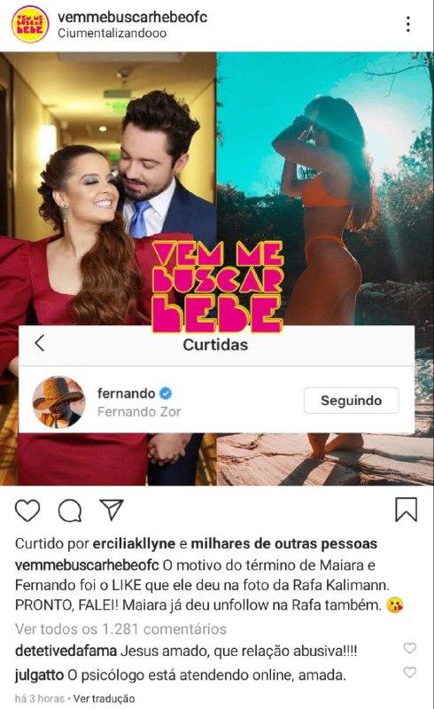 Fernando e Maiara colocaram um ponto final no namoro por causa dos ciúmes da cantora (Foto: Reprodução)