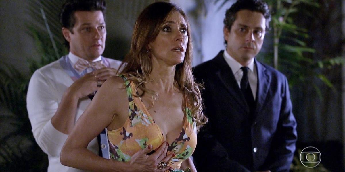 Christiane Torloni (Tereza Cristina), Marcelo Serrado (Crô) e Alexandre Nero (Baltazar) em Fina Estampa, que cresceu em audiência (Foto: Reprodução/Globo)