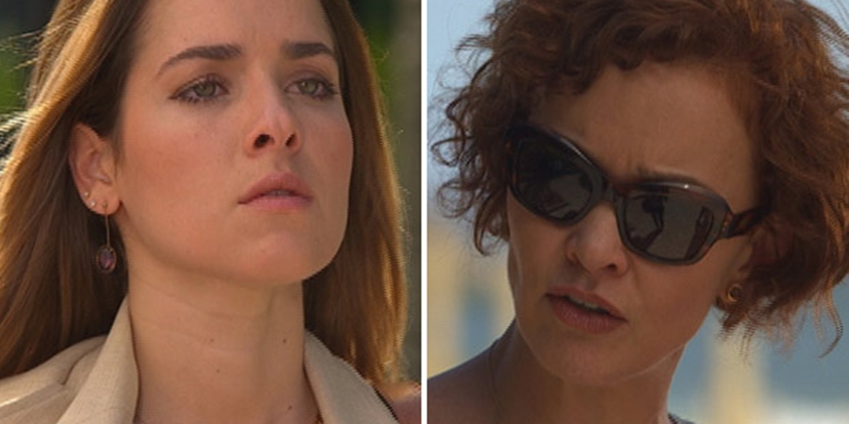 Beatriz (Monique Alfradique) e Esther (Julia Lemmertz) em cena de Fina Estampa; estilista enfrenta a jovem por causa da filha (Foto: Reprodução/Globo)