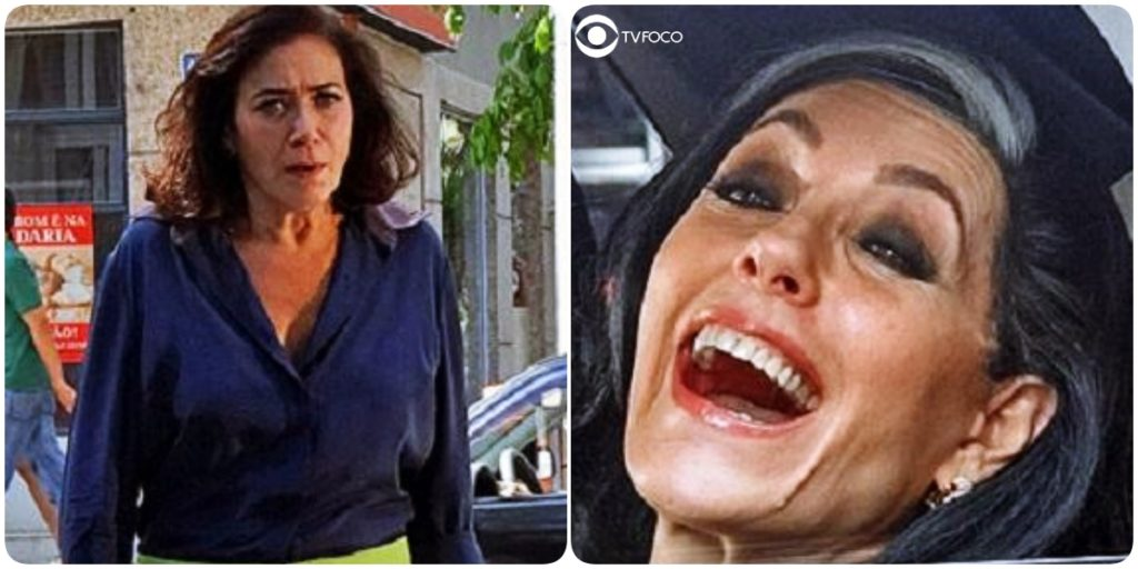 Fotomontagem de Griselda encarando Tereza Cristina gargalhando em cena da novela Fina Estampa