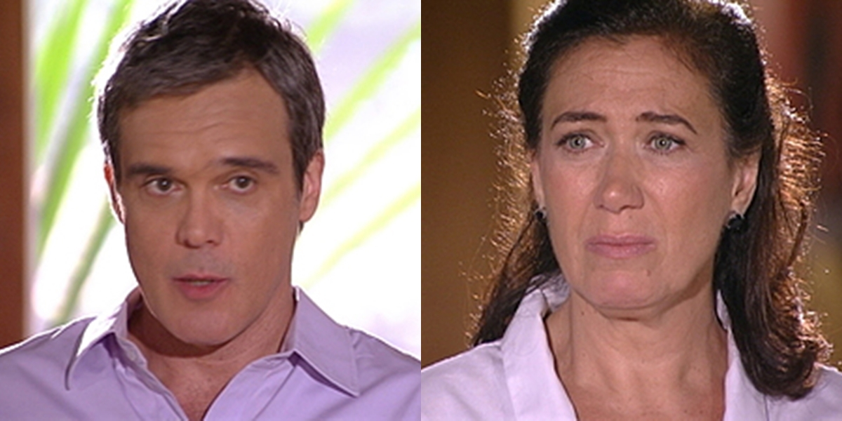 René (Dalton Vigh) arrasa Griselda (Lilia Cabral) ao informar que voltará a morar com a ex-mulher em Fina Estampa (Foto: Reprodução/Globo)