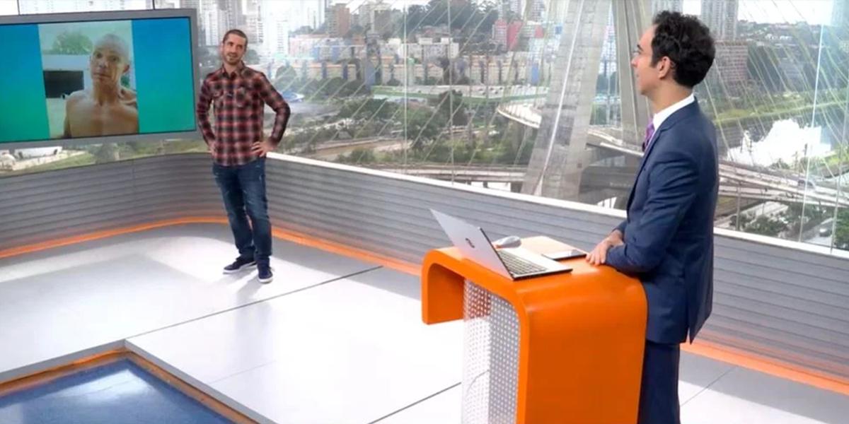 Felipe Andreoli com Cesar Tralli durante bloco do Globo Esporte no SP1 (Foto: Reprodução)