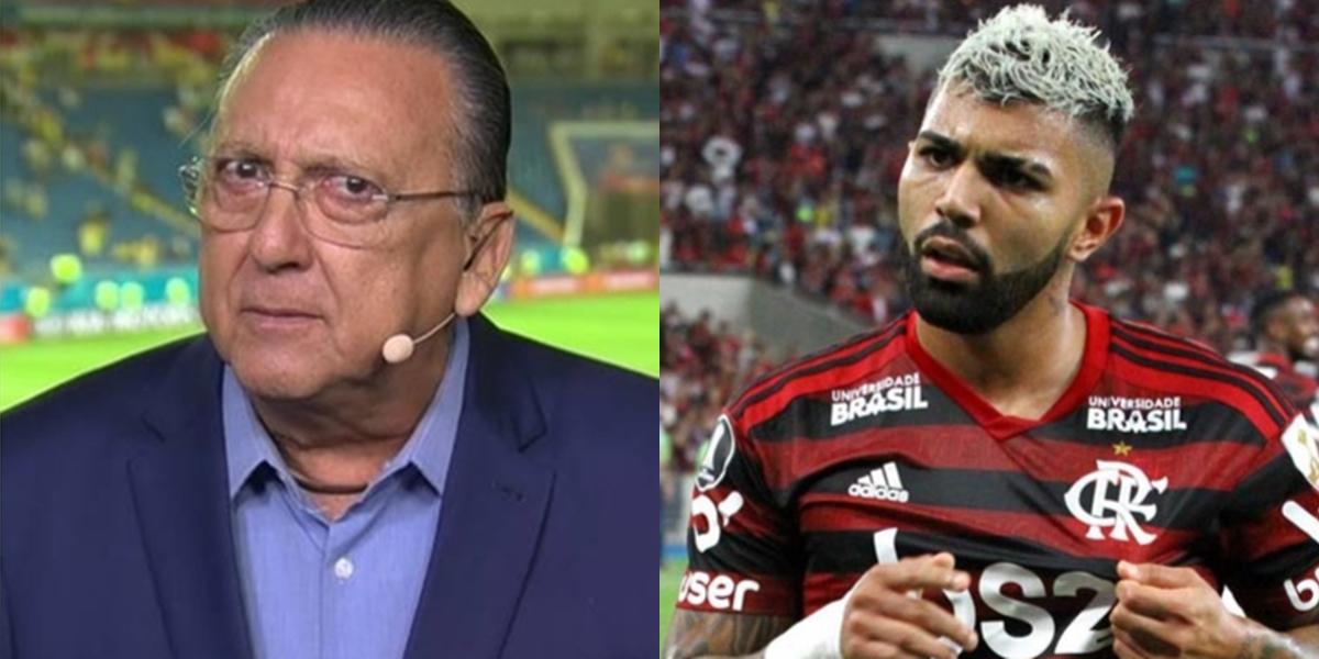 Galvão Bueno, a cara do esporte da Globo, e Gabigol, destaque do Flamengo; Globo desistiu de transmissão do Campeonato Carioca após guerra com clube (Foto: Reprodução/Globo e Eldio Suzano/Photopress)