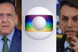 Galvão Bueno, principal nome do esporte da Globo, e o presidente Jair Bolsonaro; emissora promete acionar a Justiça por exclusividade do futebol (Foto: Reprodução/Globo)
