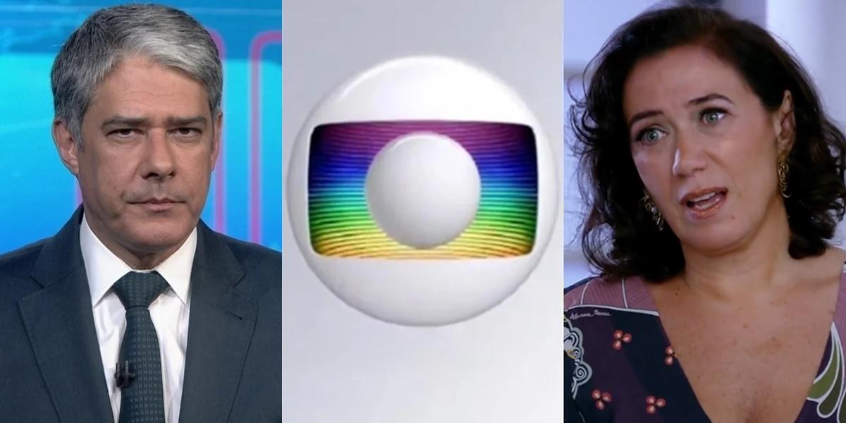 William Bonner no Jornal Nacional e Lilia Cabral (Griselda) em Fina Estampa; atrações são as mais caras da TV (Foto: Reprodução/Globo)