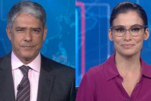 William Bonner e Renata Vasconcellos no comando do Jornal Nacional, que teve desconto para anunciantes em meio à crise (Foto: Reprodução/Globo)