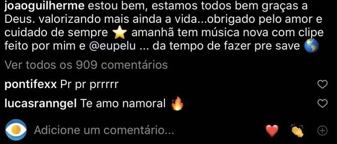 Lucas Rangel se declarou para João Guilherme (Foto: reprodução/Youtube)