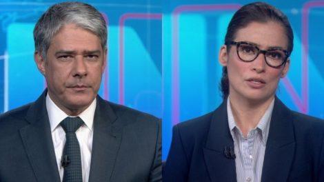 William Bonner e Renata Vasconcellos no comando do Jornal Nacional, que teve alta audiência com notícia sobre Jair Bolsonaro (Foto: Reprodução/Globo)