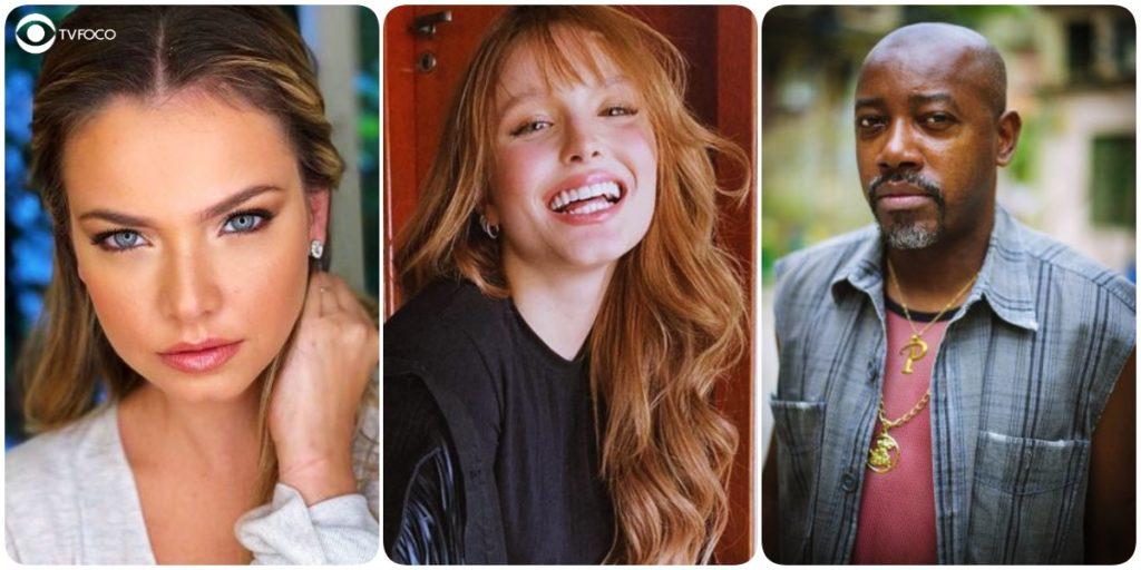 Foto montagem da atriz Milena Toscano, Larissa Manoela e Nando Cunha que foram da novela As Aventuras de Poliana