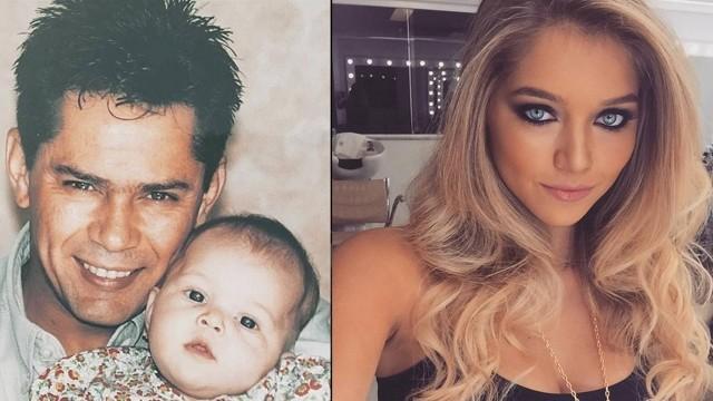 Lyandra ainda bebê com o pai Leandro e ao lado, como está atualmente