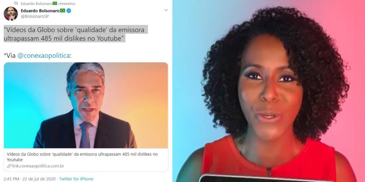 Maju Coutinho e William Bonner aparecem em vídeo institucional da emissora carioca (Foto: Reprodução/Twitter/TV Globo)