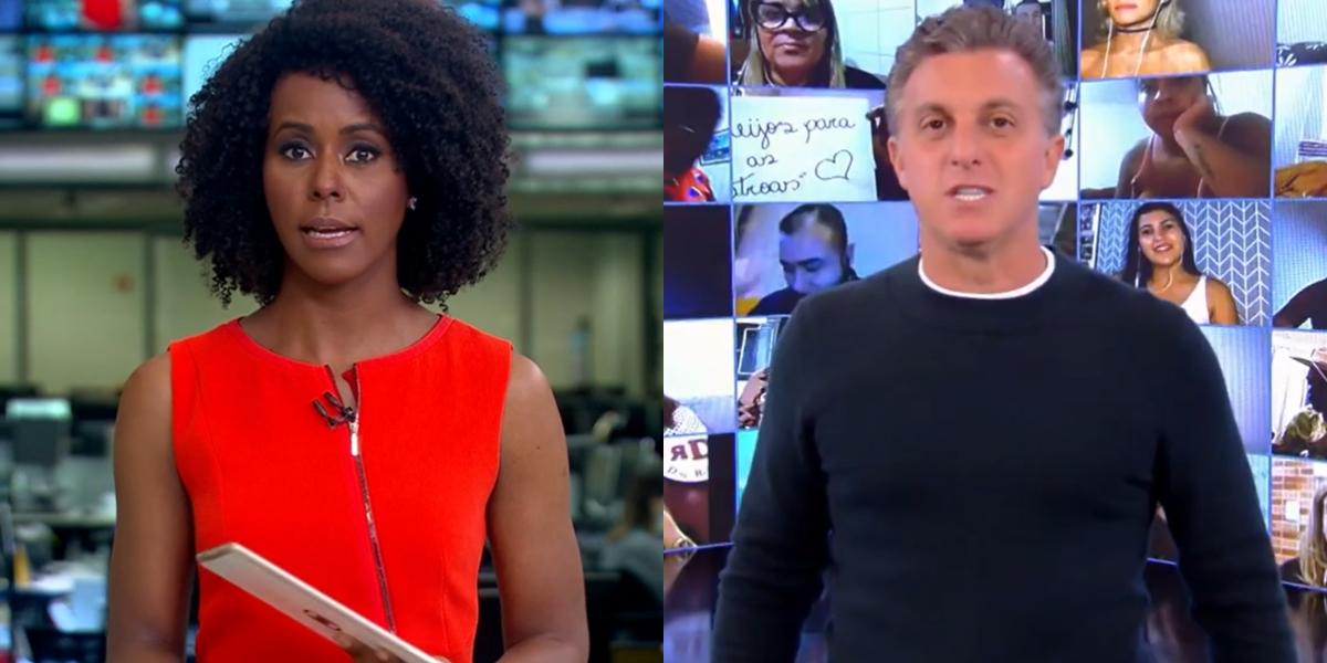 Maju Coutinho no Jornal Hoje e Luciano Huck no Caldeirão; telejornal teve mais audiência que programa (Foto: Reprodução/Globo)
