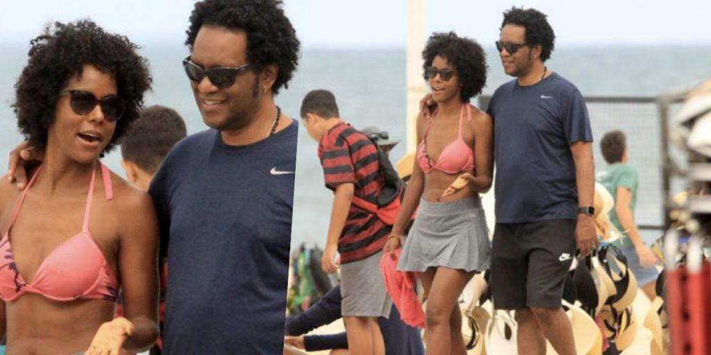 Maju Coutinho foi flagrada por paparazzis na praia ao lado do marido (Foto: reprodução)