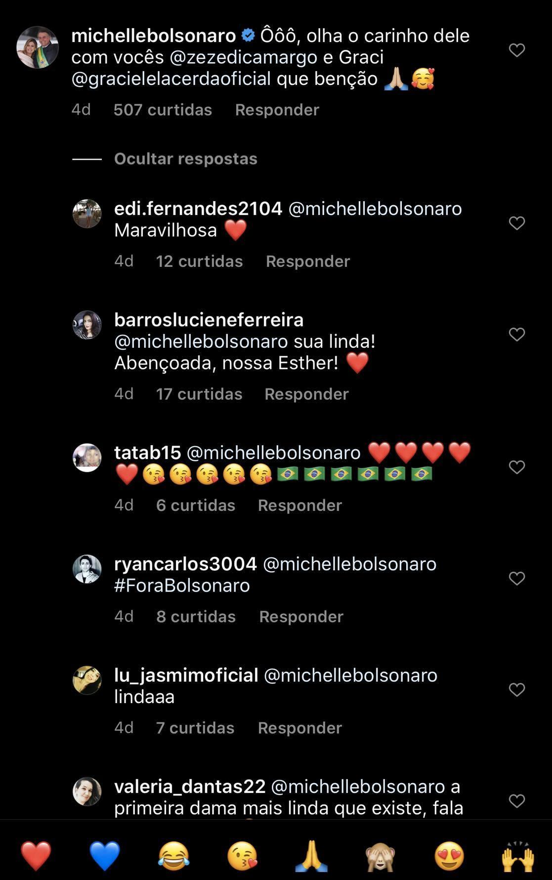 Michelle Bolsonaro mandou um recado para Graciele Lacerda e Zezé (Foto: reprodução/Instagram)
