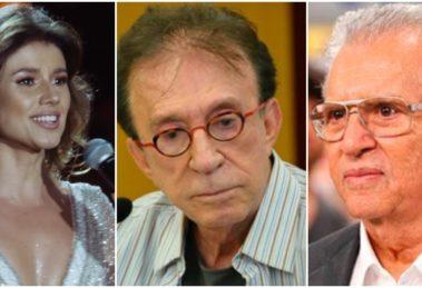 A cantora Paula Fernandes e os humoristas Moacyr Franco e Carlos Alberto de Nóbrega (Reprodução)
