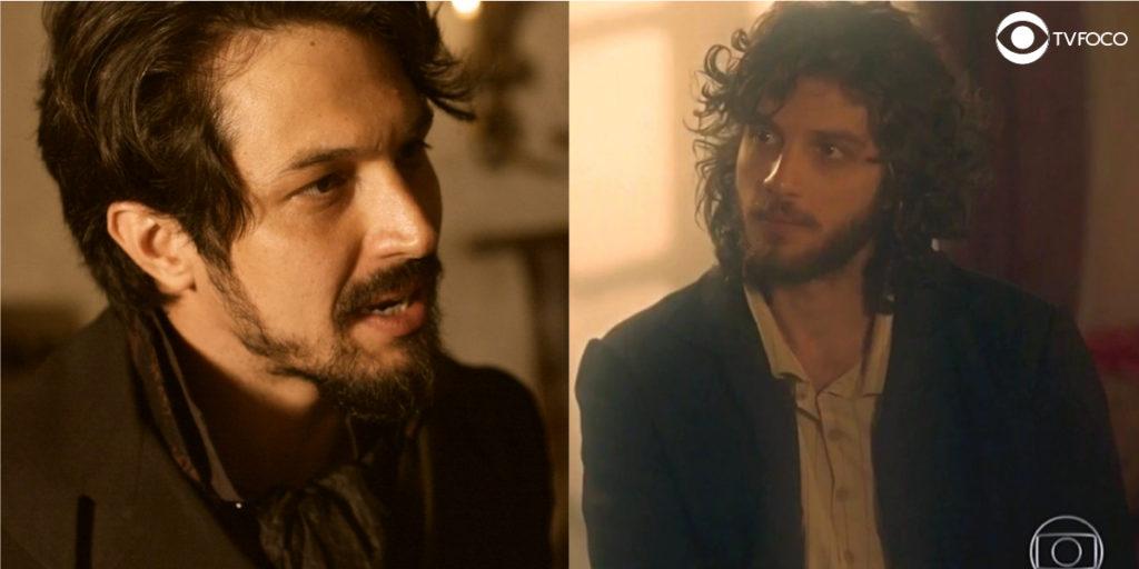 Fotomontagem de Chalaça e Joaquim em cenas de Novo Mundo