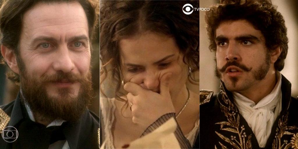 Fotomontagem de Pedro, Leopoldina e Thomas em Novo Mundo