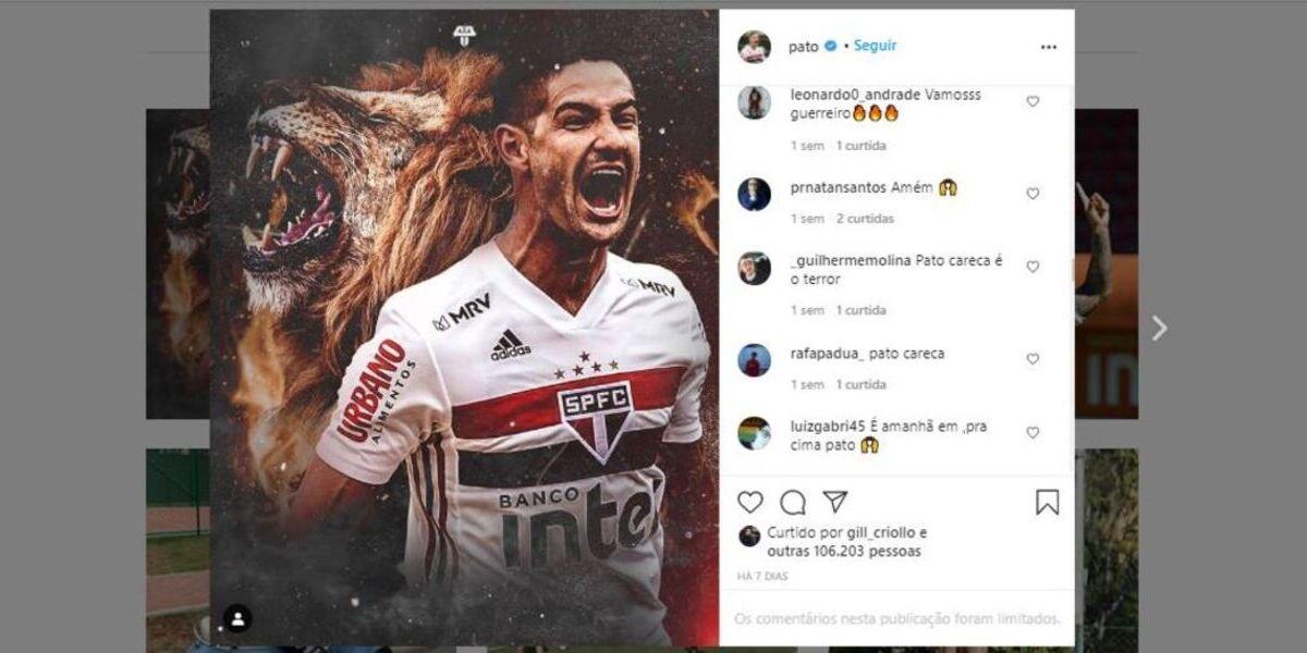 Última publicação de Pato nas redes sociais (Foto: Reprodução/Instagram)