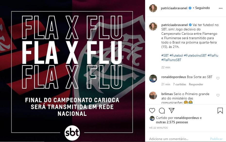 Patrícia Abravanel divulgou que o SBT vai transmitir a partida (Foto: Reprodução)
