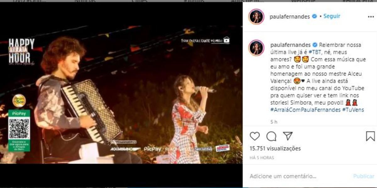 Paula Fernandes homenageou Alceu Valença, após sustentar Moacyr Franco (Foto: Reprodução/Instagram)