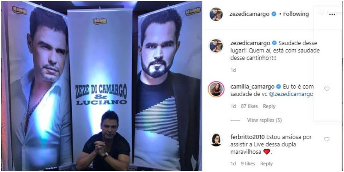 Zezé Di Camargo expõe saudade do palco (Foto: Reprodução)