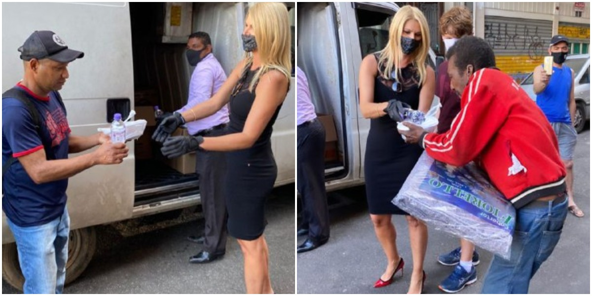 Val Marchiori distribuiu comida para os moradores de rua (Foto: Reprodução)