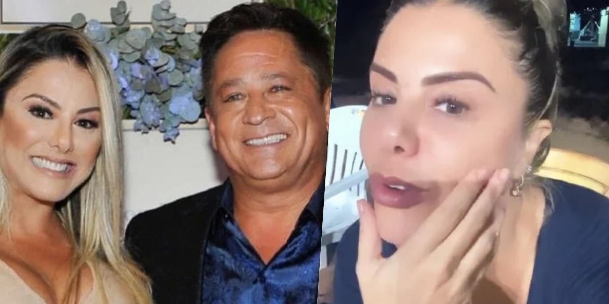 Poliana Rocha, esposa de Leonardo, comentou sobre uma briga em casa (Foto: montagem)