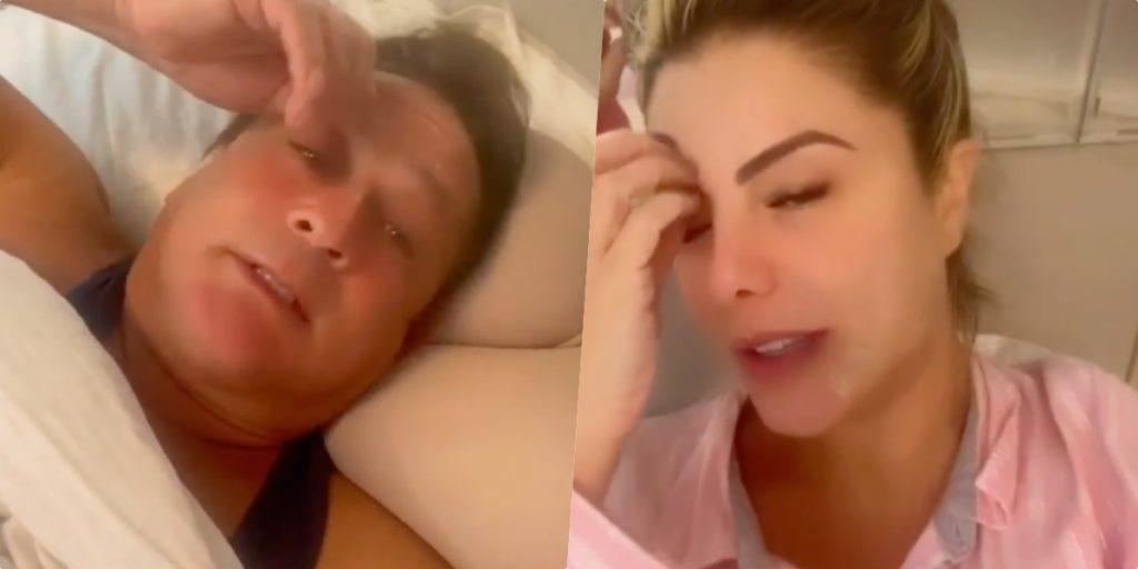 Leonardo e Poliana Rocha mostraram intimidade na cama (Foto montagem)