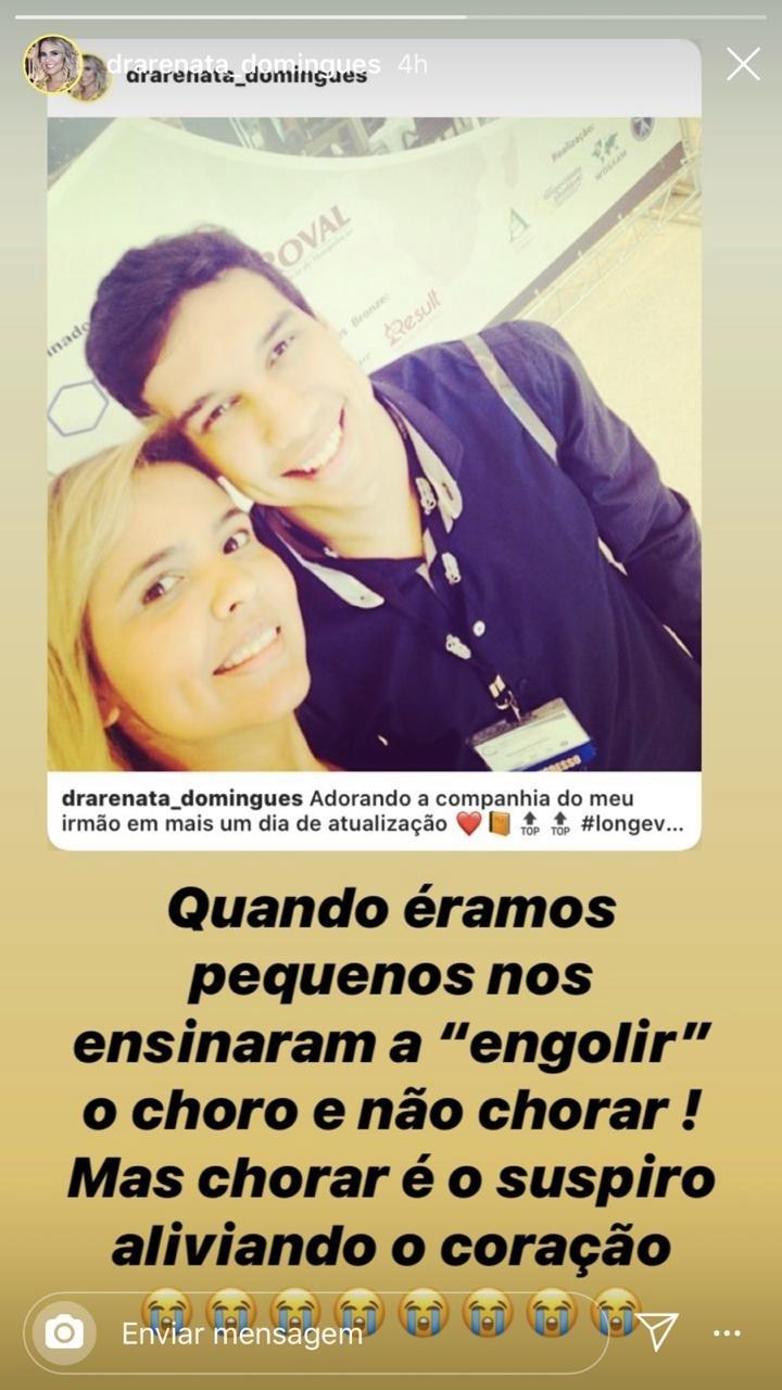 Renata Domingues, esposa de Carlos Alberto em seu storie (Foto: reprodução/Instagram)