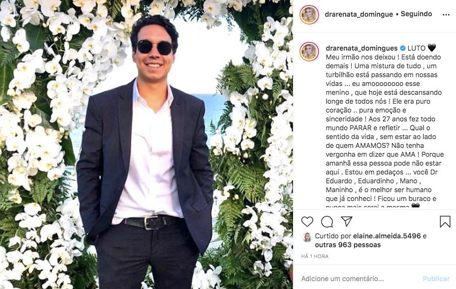 Renata Domingues perdeu o irmão aos 27 anos (Foto: reprodução/Instagram)