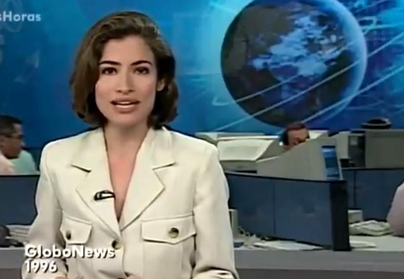 Renata Vasconcellos na GloboNews no início da carreira - Foto: Reprodução