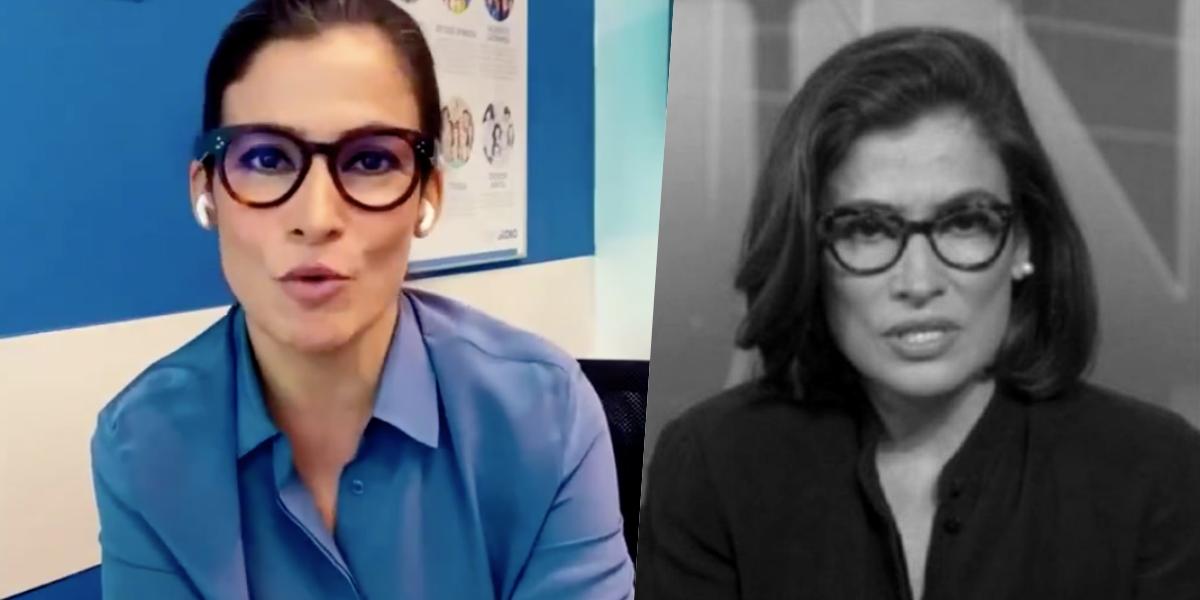 Renata Vasconcellos apresenta o Jornal Nacional (Foto montagem: TV Foco)