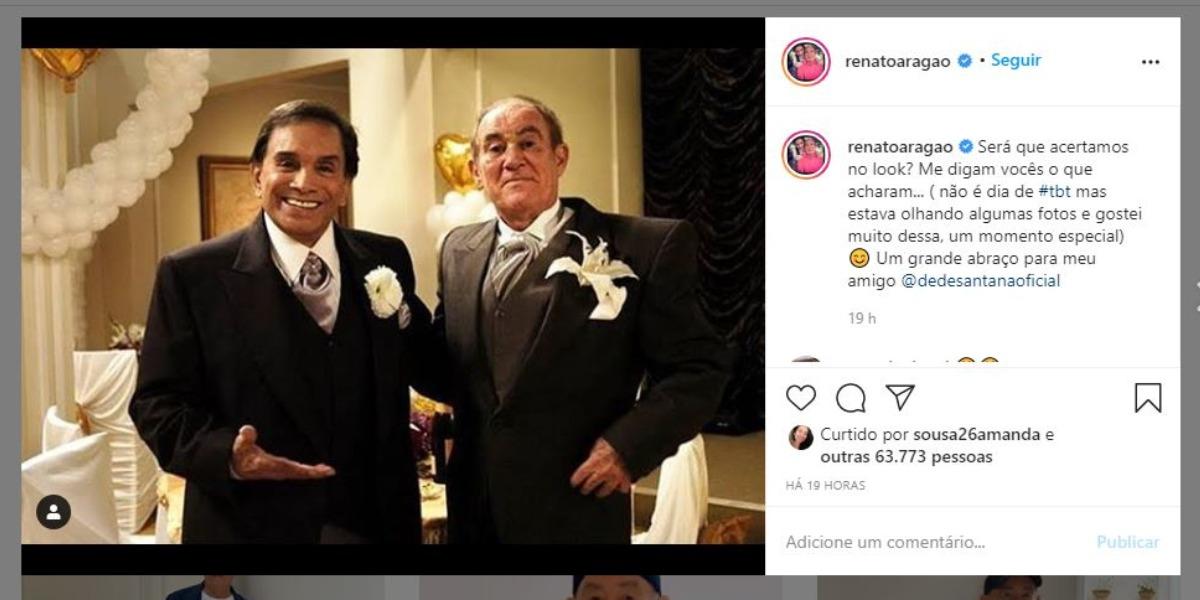 Renato Aragão, intérprete de Didi, compartilhou clique com Dedé (Foto: Reprodução/Instagram)