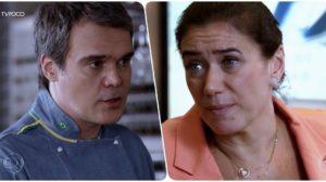 René (Dalton Vigh) e Griselda (Lilia Cabral) em Fina Estampa; chef será baleado e salvo pela ex (Foto: Reprodução/Globo)