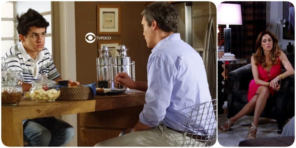 René e Junior estão sentados de frente um pro outro em uma cozinha enquanto Tereza Cristina está sentada em seu quarto solitária nesta foto montagem do TV Foco da novela Fina Estampa