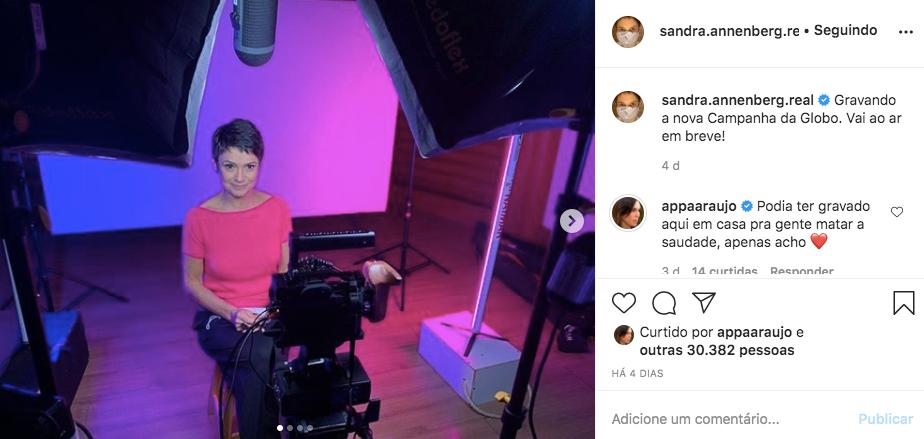 Sandra Annenberg recebeu uma mensagem de Ana Paula Araújo (Foto: reprodução/Instagram)