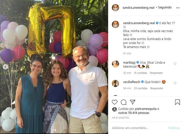 Sandra Annenberg ao lado da filha e do marido (Foto: Reprodução/ Instagram)